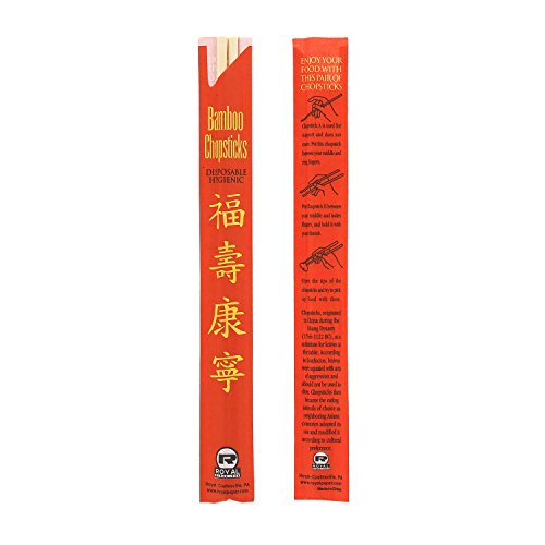 Royal Premium Disposable Bamboo Chopsticks, 9'' Sleeved and Separated, UV Treated, Case of 1000 by Royal (Image #3)
