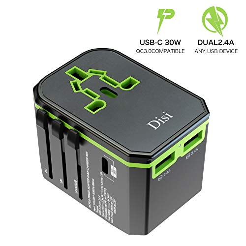 Disi Universal Fast Charging Travel Adapter, Universal Smart 2 USB + 1 Type C Charging Ports All in One International Power Adapter, for High Power Appliances for UK, EU, AU, US, Over 200 Countries