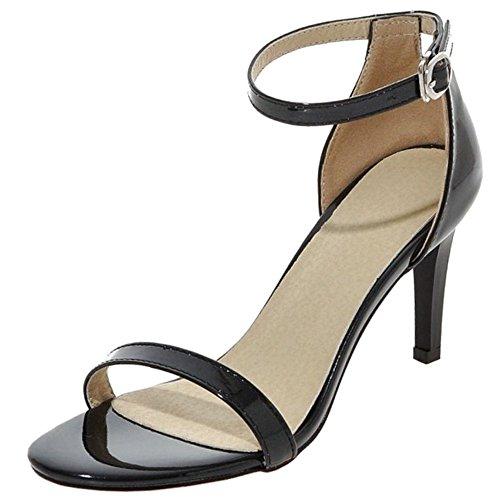 COOLCEPT Mujer Moda Strappy Zapatos Punta Abierta Al Tobillo Tacon De Aguja Sandalias Negro#1