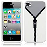iPhone 4 / iPhone 4G Zipper Style Silicone Skin Case / Cover / Shell - Whiteby TERRAPIN