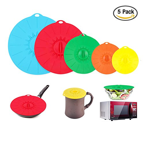 Microwave Covers, Silicone Food Lids sets, 5 Colorful Combo for Bowl Cup Pot Skillet Anti-dust Airtight Seal Super Suction Lid