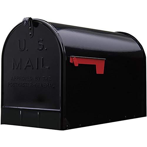 Post Mount Mailbox Extra Large Postal Storage Box Black Galvanized Steel Heavy