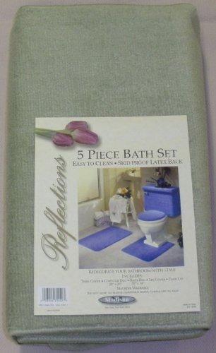 Bon 5 PIECE SAGE GREEN BATHROOM RUG SET, INCLUDES AREA RUG, CONTOUR RUG, LID
