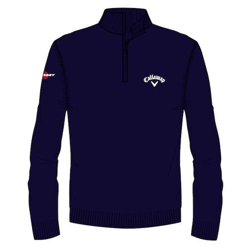 Callaway 2018 Mens Golf 1/4 Zip Jersey Wool Sweater Thermal Pullover Peacoat Small