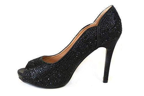 SKOS - Sandalias de vestir de Material Sintético para mujer Black (828-7)