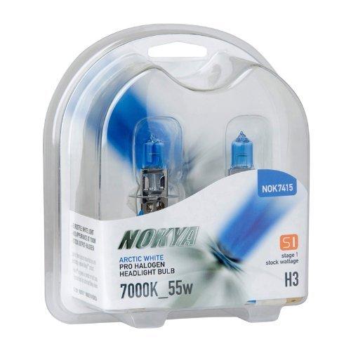 NOKYA NOK7415 Pro Halogen Arctic White H3 55 Watt 7000K Light (Nokya Pro Halogen Light Bulb)