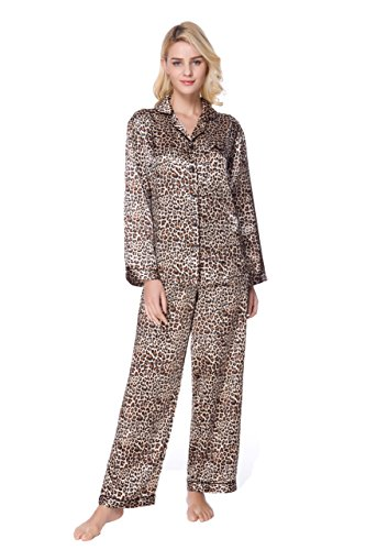 Lavenderi Women's Long Sleeve Premium Satin Pajama Set (Medium, Leopard) ()