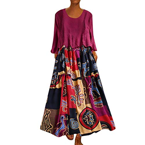 Maxi Dresses for Women,Womens Crew Neck Patchwork Two-Piece Summer Vintage Floral Long Maxi Dress