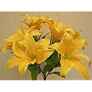 Phoenix Silk Tiger Lily Bush Satin 11 Artificial Flowers 19″ Bouquet 8225 Yellow