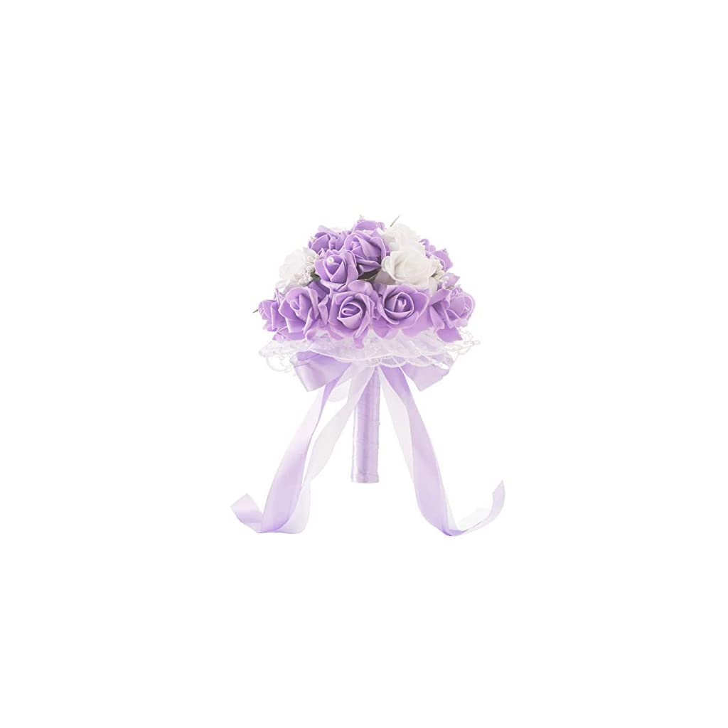 Micozy Wedding Bouquet, Purple Flower Bridesmaid Bouquet Bridal Bouquet with Crystals Soft Ribbons, Artificial Rose Flowers for Wedding, Party and Church Mother's Day(Purple Big Size)