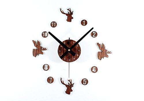 Eyxia Deer Wall Clock DIY Baby's Room Home Decorations Silent Non-ticking for Children's Day, Brown