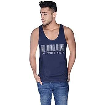 Creo Blue Cotton Round Neck Tank Top For Men