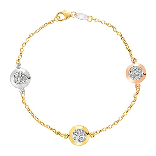 Gold Chain Pave Bracelet (Crystaluxe Station Chain Bracelet with Swarovski Crystals in 10K Three Tone Gold-Bonded Sterling Silver)