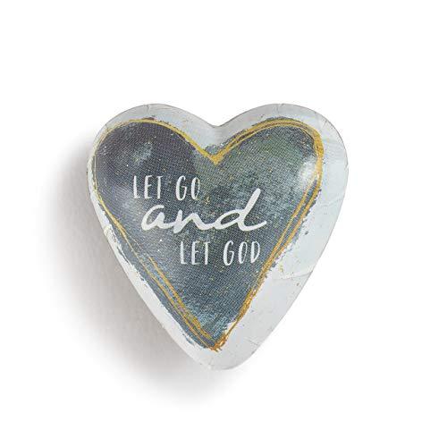 DEMDACO Let Go Pewter Grey 2 x 2 Resin Stone Collectible Art Heart Token Figurine