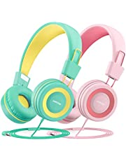 Mpow CH8 Kids Headphones (2-Pack), 91dB Volume Limiter & Hearing Protection, Light Weight Comfortable On-Ear Headsets W/Foldable and Durable Earphones with Audio Splitter for Toddlers, Children