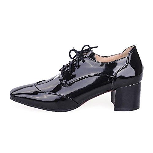 Balamasa Dames Bandage Carrés-orteils Chunky Talons Vernis En Cuir Oxfords Chaussures Noir
