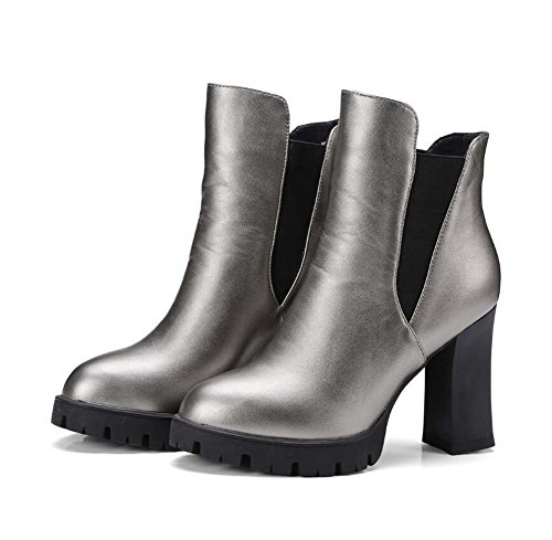 Martin Boots Botines 10.5cm Chunkly Heel Punta Toe Pump Corte Zapatos Zapatos de vestir Mujer Encanto Color Pura Elástico Banda Ol Calzado Casual Tamaño 32-43 ( Color : Gray , Size : 39 )