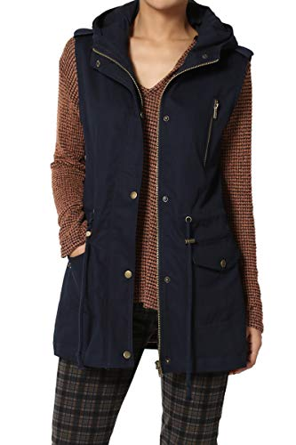 TheMogan Women's Military Drawstring Waist Loose Fit Utility Hoodie Vest Navy ()