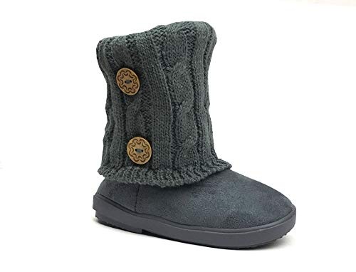 Kids Boots Toddler Girls Cute 2 Buttons Faux Fur Suede Knitting Shoe | 285 (Toddler 9, Grey) for $<!--$15.98-->