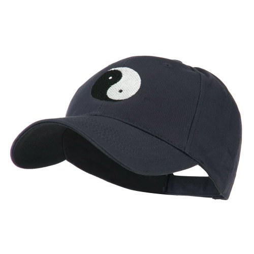 (Traditional Chinese Symbol Yin and Yang Embroidered Cap - Navy OSFM)