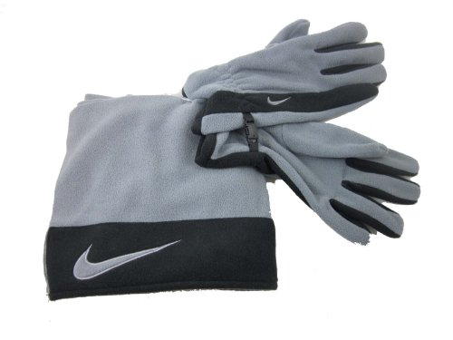 Adult Unisex Nike Sport Fleece Scarf and Gloves Gray Black OSFM