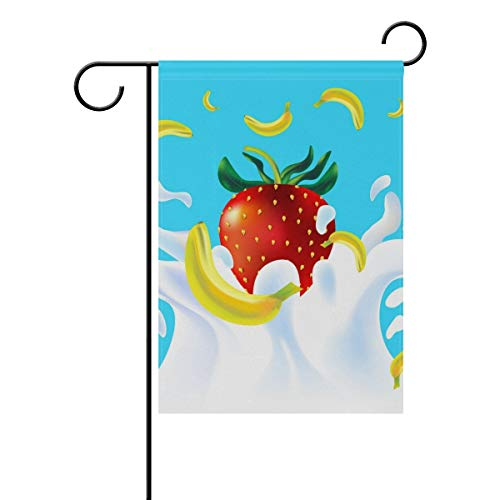 Cute Strawberry Banana Cartoon Garden Yard Flag Banner for Outside House Flower Pot Double Side Print 12x18 in