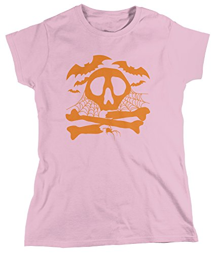 Amdesco Women's Bats, Skull and Crossbones, Spider Cobwebs T-shirt, Light Pink Large Large Cob Bone