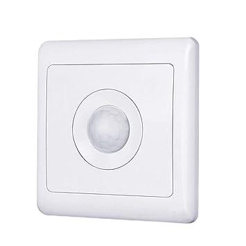 Hemore Sensor de Movimiento automático Interruptor Cuerpo Inducción PIR Detector de Movimiento para Pared LED Luz Hogar Lámpara Blanco: Amazon.es: Hogar