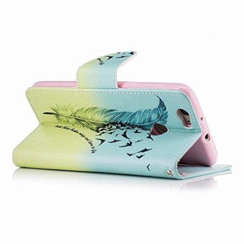 Custodia Huawei nova Cover Case, Ougger Ala Portafoglio PU Pelle Magnetico Stand Morbido Silicone Flip Bumper Protettivo Gomma Shell Borsa Custodie con Slot per Schede