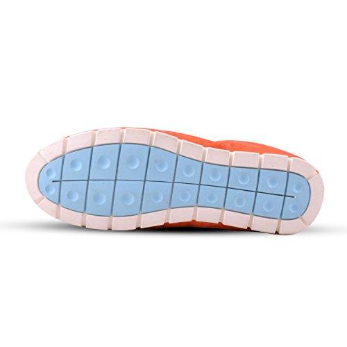 Santimon Heren Lederen Flexibel Oorzakelijk Metaal Details Loafer Schoenen Oranje