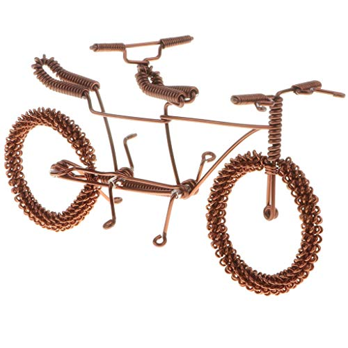 ndmade Wire Tandem Bicycle Model for Home Desk Office Ornaments Decor Hobby Toys Gifts - Coffee ()