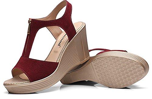 Mode Sandales Fermeture Femme Fille Eclair Style Plateforme Rouge Ruée Vineux Aisun 76q5nU7