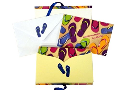 Beachcomber Sandal - Greetings From the Beach, 8 Boxed Flip Flop Sandals Designed Note or Thank You Cards with Matching Envelopes