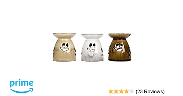 Use Brand Essential Oils and Fragrance Oils Cream and White Hosley Set of 3 Assorted Ceramic Oil Warmers Ideal for Spa and Aromatherapy 4.3 High O6 HG Global AMH21015S Antique Brown