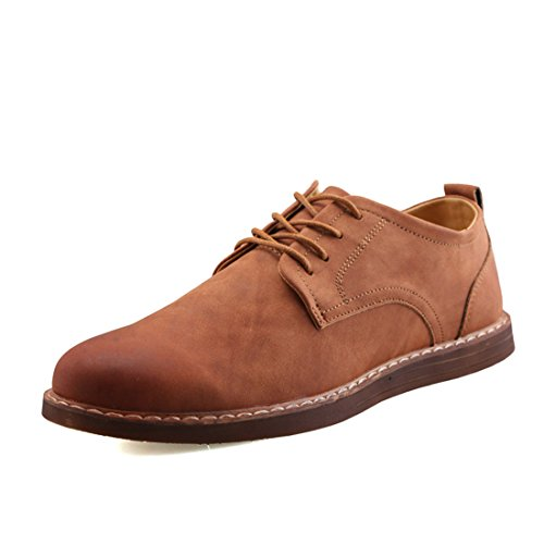O&N Men Casual Lace Up Flat Dress Shoe Business Shoes Brown