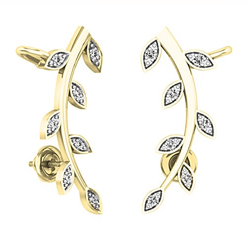 Diamond Earrings Cut Leaf - 0.10 Carat (ctw) 10K Yellow Gold Round Cut White Diamond Ladies leaf shaped Climber Earrings