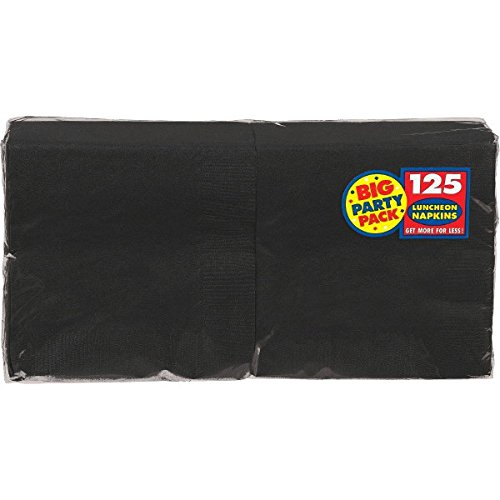 Amscan Big Party Pack Luncheon Napkins 6-1/2-Inch, Black