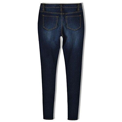 Pantalons Crayon Pieds bleu Taille Femme Jeans Jeans Zipper Haute Petits Sfit lastique fonc v0TwS4qqz