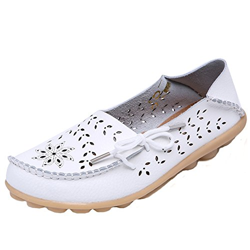 White Driving 2017 Shoes Casual Moccasins Loafer Leather Womens Hollow Flat AqRArU8w
