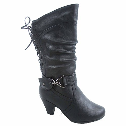 Page-65k Page-65k Girl's Youth Fashion Round Toe Low Heel Slouch Back Lace Zipper Boots Shoes(2, (Back Lace Boots)