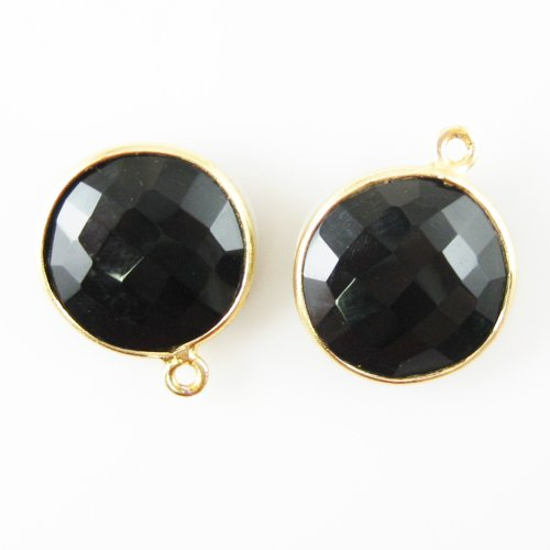 Gemstone Pendant - 14mm Faceted Coin Shaped Charm - Black Onyx (Sold Per 2 - Faceted Onyx Pendant