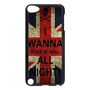 Jany store123 store Custom Rock and Roll,i wanna rock black plastic Case for IPod Touch 5th cover