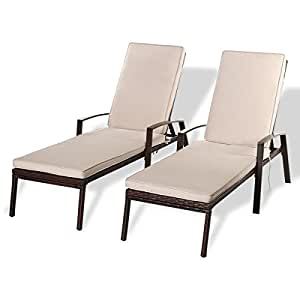 Set of 2 Brown Resin Wicker Adjustable Pool Lounge Chairs Sun Loungers Chaise Lounge With Beige Cushions Pads Outdoor Pool Patio Furniture