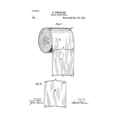 Toilet Paper Roll Patent Print Art Poster White Matte (11  x 14 )