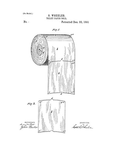 Toilet Paper Roll Patent Print Art Poster White Matte