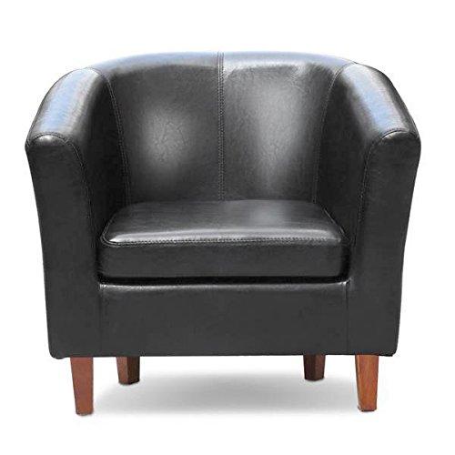 Go2buy Black Antique Faux Leather Club Chair Living Room Armchair Reception Barrel Chair