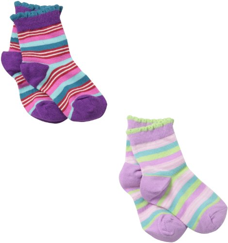 Country Socks Girl - Country Kids Little Girls'  Funky Stripe Socks 2 Pair, Lilac/Plum, Sock Size 7-8, Shoe Size 9-1