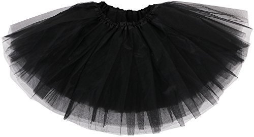 Simplicity Girl Petticoat Ballet Dance Fluffy Tutu Skirt w/ Elastic Waist, Black (Dance Costumes On Line)