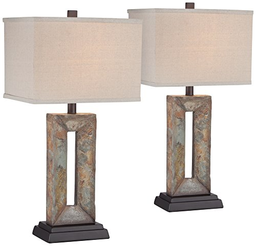 Tahoe Small Rectangular Slate Table Lamp Set of 2
