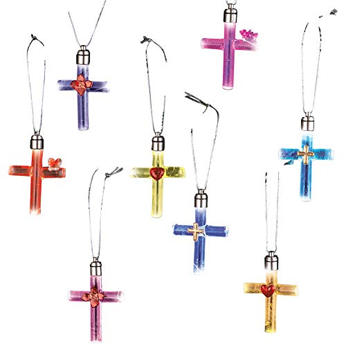 - Lighted Glass Cross Christmas Ornaments - Color Changing LED